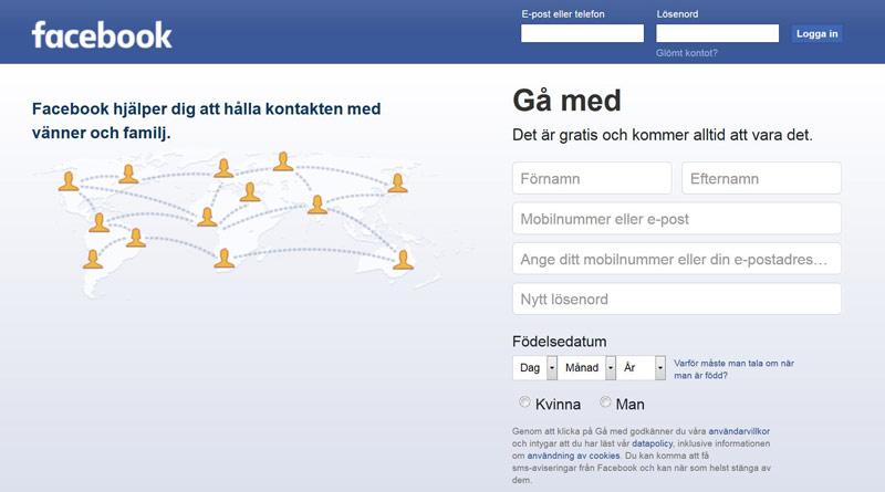 Facebook startsida