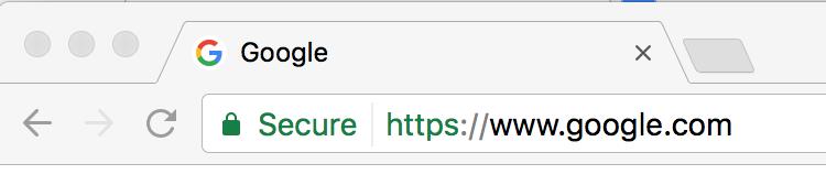 Säker ikon och text vid https använding