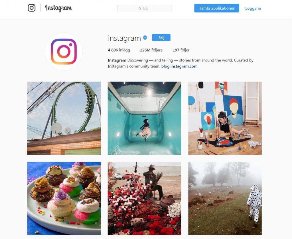Instagram startsida i Sverige
